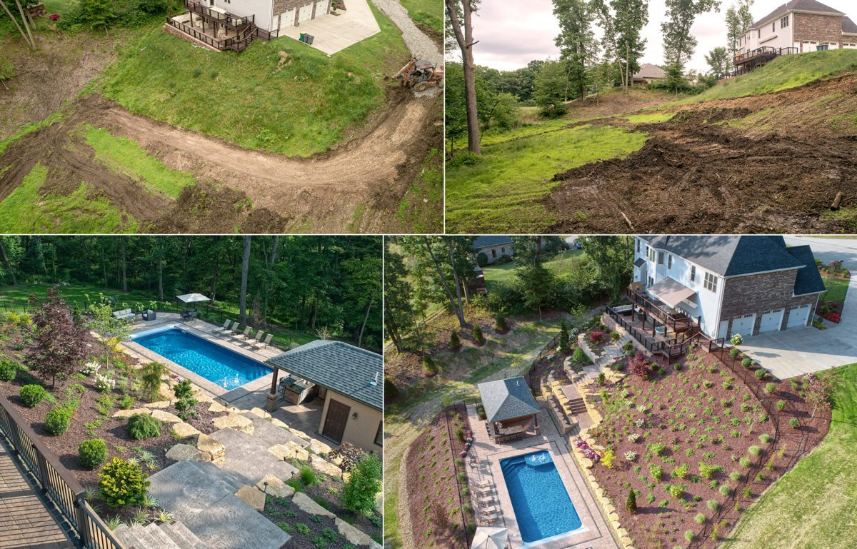 Luxury Backyard Built into a Hillside designed by Beall's Landscaping
