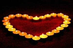 candles, heart, candlelight