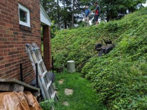 Before picture - Gravity retaining wall and patio. Ross Township, Pennsylvania. Completed 2020