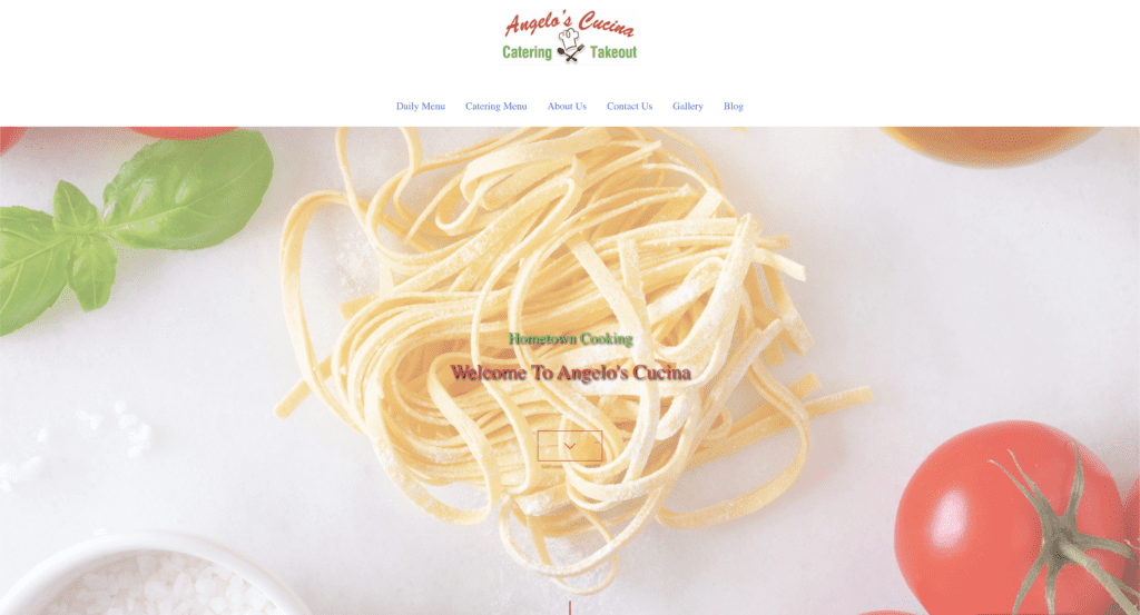Angelos cucina and catering website screenshot
